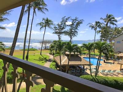 Beautiful ocean view from the condo lanai.