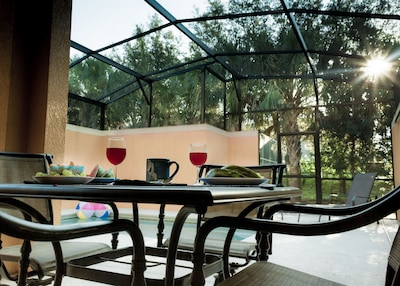 This back deck and yard allows for the most privacy within Paradise Palms.