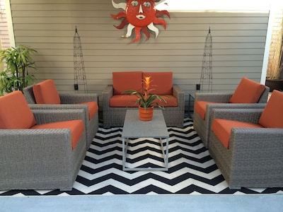 Gorgeous outdoor seating under the pavilion.  LED lights/ceiling fan.