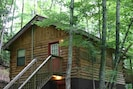 Secluded and peaceful.  Cabin is at the end of a private drive.