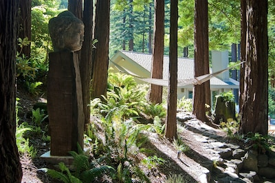 The main house as seen from the zen garden and hammock