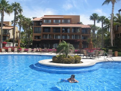 View of Ballena building from the pool. Ballena 204 is on the far left of the 2nd floor.
