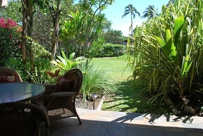 Relax on your private lanai that overlooks your Hawaiian retreat.