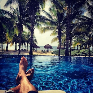 Just another picture of feet--bare feet are the norm here. Pool or beach-or both