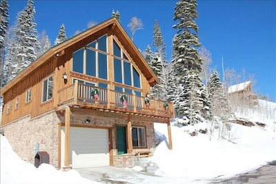 Winter (Feb 2015) view of our multi-family cabin overlooking Brian Head summit