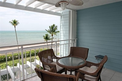 covered outdoor balcony facing the Atlantic Ocean.