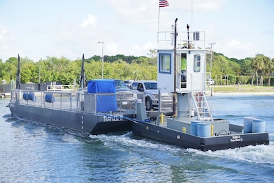 The short ferry ride by Palm Island Transit takes about 3 minutes.
