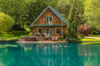 View of the cabin from across the pond. Ducks often visit.  Photo by Stevenflow.