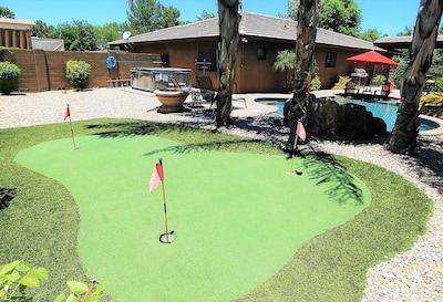 3-hole putting green behind the pool. We provide the putters & golf balls.