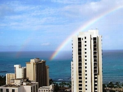 Everyday is paradise! View of a morning rainbow from the condo's lanai