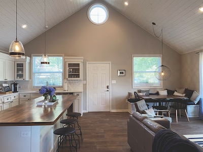 The main living area and kitchen
