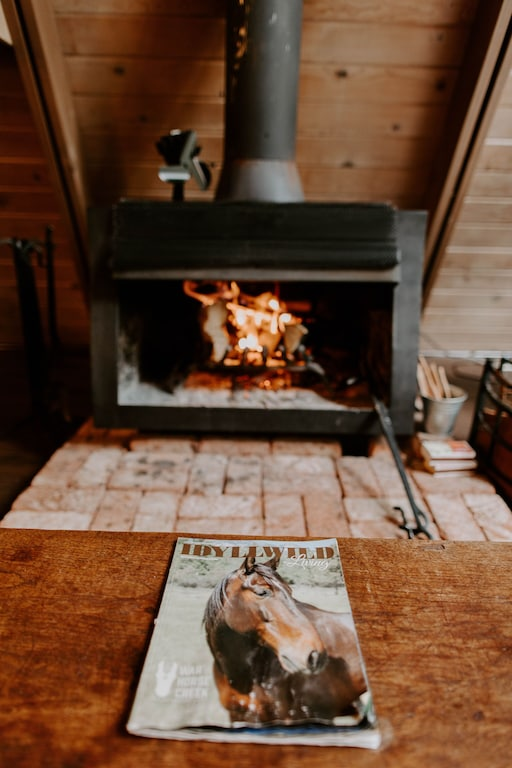 A warm fire makes for the perfect cabin experience