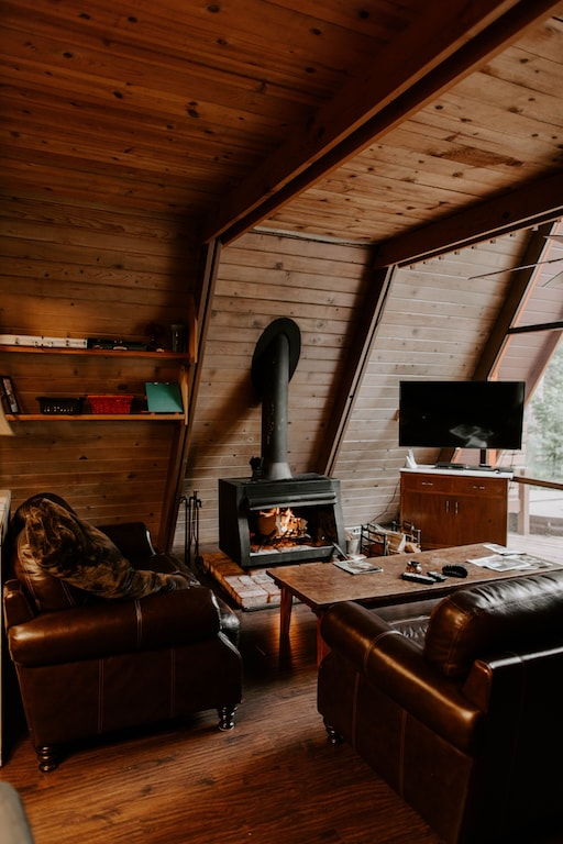 The A-Frame design offers a cozy, yet spacious layout