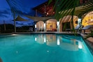 The pool with the soft magnesium and potassium salts is heavenly day and night