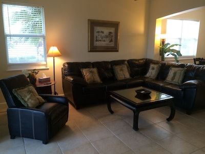 Leather sectional for your whole family to gather and relax