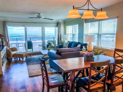 Enjoy the direct oceanfront views from living room, dining room and kitchen