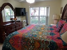 new bedspread, 2nd tv King bed shortened for walkway King mattress topper fits