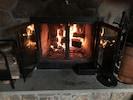 Natural fieldstone wood burning fireplace.  Firewood provided.