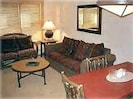 Lodge loveseat and queen size sofa bed. Dining table seats 4. Bar seats 3.