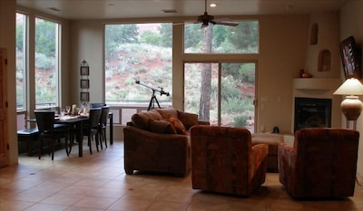 Great room with living room and dining area