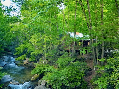 Calming river sound straight to our warm, cozy wood cabin. Perfect peace.