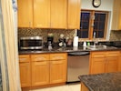 kitchen with new microwave and coffee maker