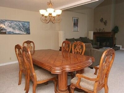 Dining table looking into living area