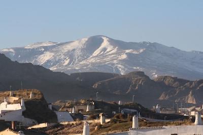 Panorámica Cuevas Guadix y Sierra Nevada-Cerro de la Bala