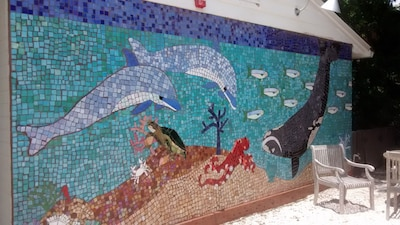 New Mosaic Mural in the courtyard next to Ridley Suite.