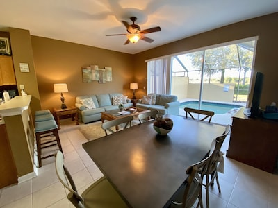Modern family room with seating for 9.