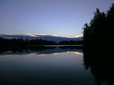 Twilight glass from the dock