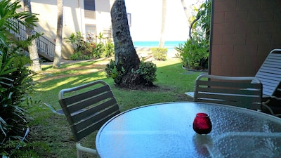 VIEW FROM THE LANAI, STEPS TO THE OCEAN!