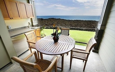 Ocean is MUCH closer from your lanai than the photo shows and amazing sunsets!