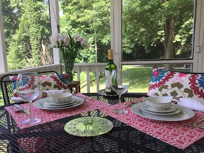 DINNER ON FRONT PORCH ABOVE MAURY RIVER.