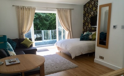 Spacious, comfy modern 2 storey Studio with a stunning balcony overlooking woods