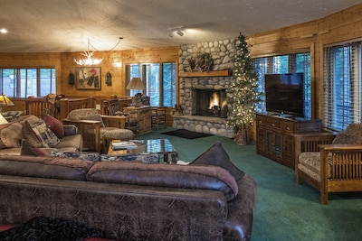 Main Living Room;  watch your favorite shows and enjoy the fireplace.