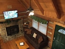 """A view of the den from upstairs, with 50"""" flat screen!"""