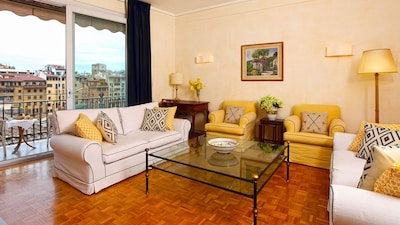 Gracious, sunny and comfortable living room with fabulous views.