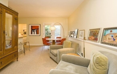 Cozy and comfortable living/dining area.
