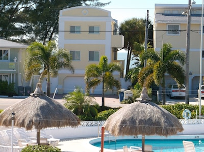 Our pool . You can see the Gulf & our quiet Beach are just steps away.