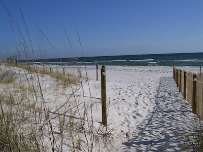 As you step off of the beach accesses. Sugar white sand.