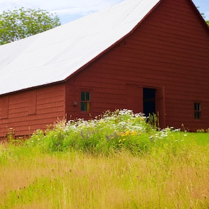 Look for the landmark red barn on the hilltop. That's the property.