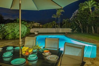 Outdoor pool in  moonlight