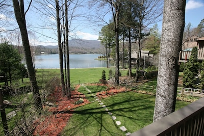 View from lake house deck looking toward lake in spring.