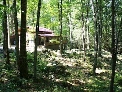 This Cabin has it all,  true log cabin, quite listen to the stream as you sleep!