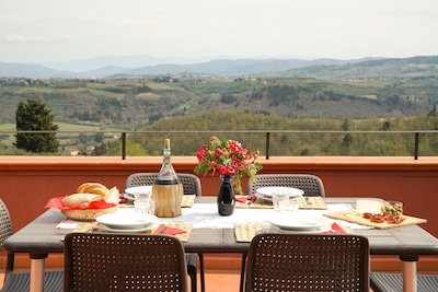 From the terrace you can savor beautiful views of the hills of Chianti.