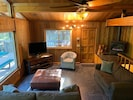 Warm cedar walls--sit by the fire at night and watch a good movie or read a book