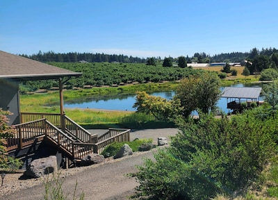 Welcome to Pondview!  A summer view of the house, pond and pier.
