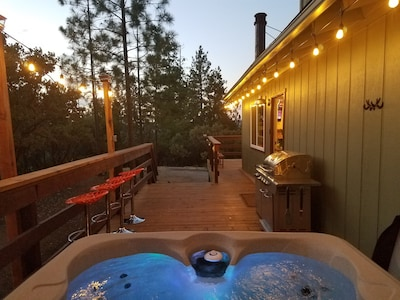 Relax in the hot tub and spend time with friends and family.