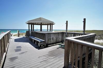 Gazebo and walkway to private beach